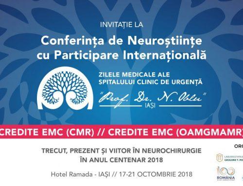 Invitatie la Conferinta Zilele Medicale ale Spitalului Clinic de Urgenta Prof. Dr. N. Oblu Iasi